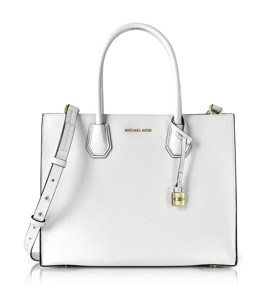 Michael Kors Mercer Tote In Optic White Gold Tone