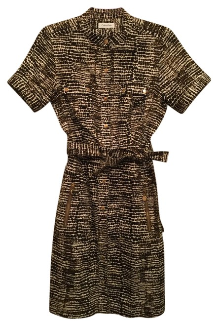 Item - Blk Brown White Military Style Short Work/Office Dress Size 8 (M)