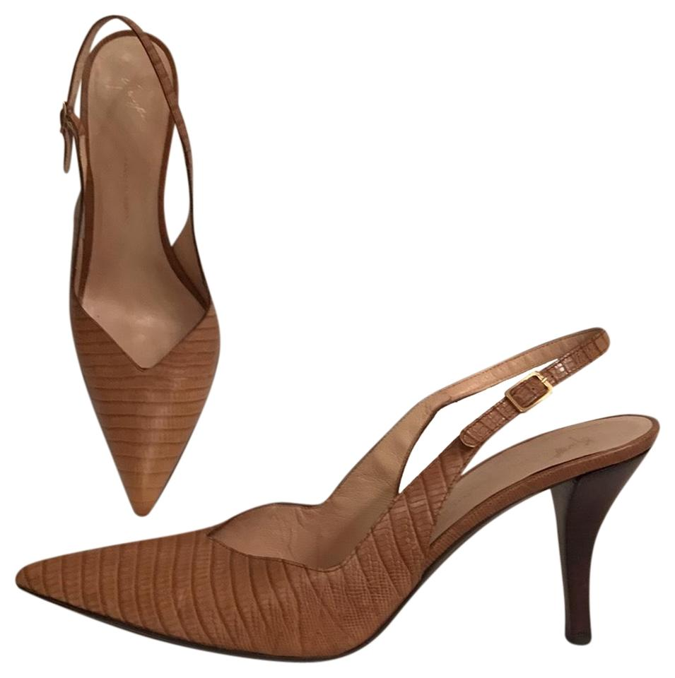 adffd6195e Giuseppe Zanotti Beige Brown Leather Embossed Slingback Pumps Size ...