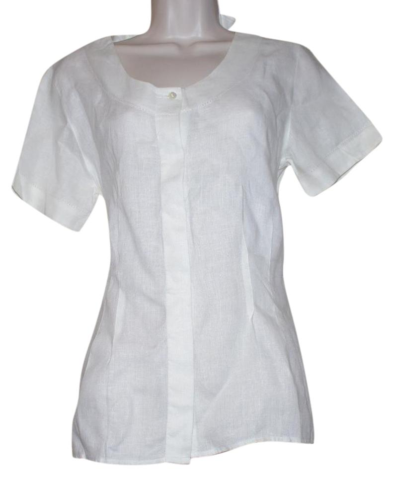 20dc387a W by Worth Off White Linen Short Sleeve Women Blouse Size 4 (S ...