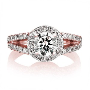 14 K White Gold 1.93 Ctw Round Cut Engagement Ring