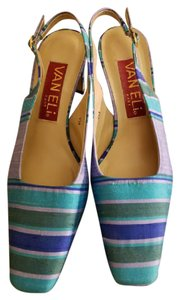 Vaneli Shantung Silk Slingback Blues/Greens striped blues/greens Pumps