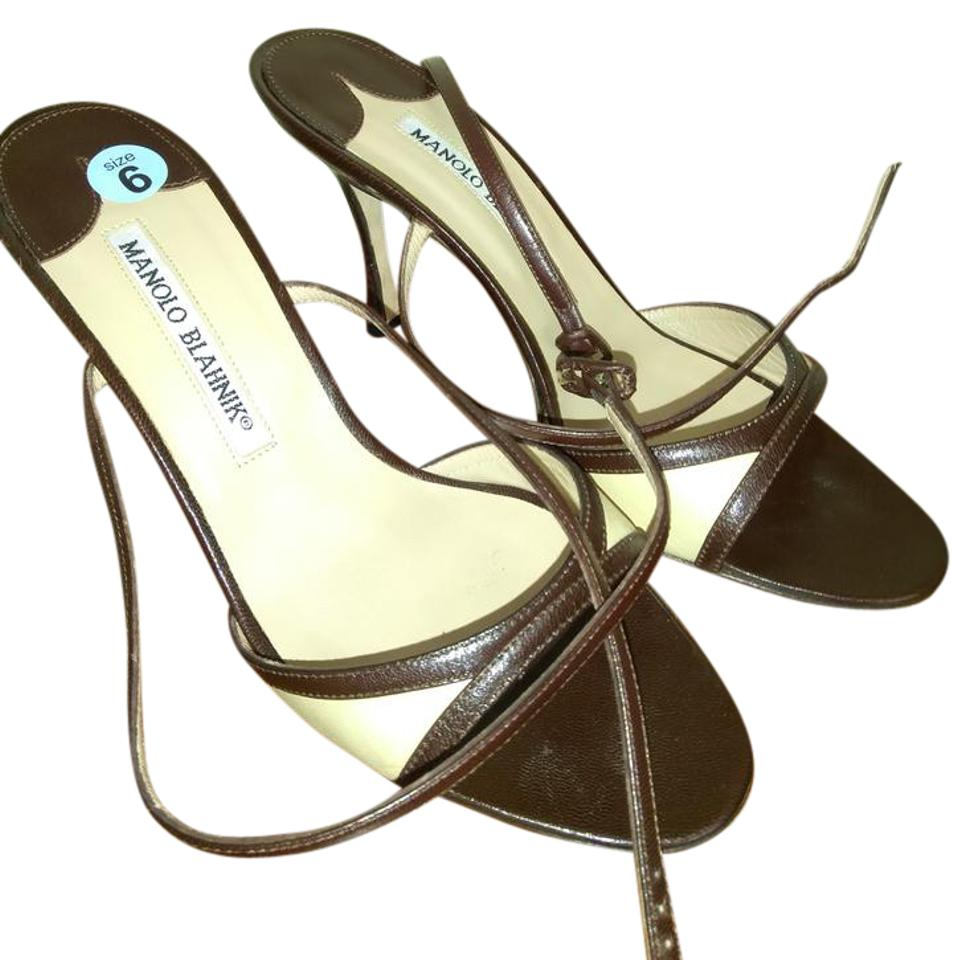 1fc85e0791568 Manolo Blahnik Brown and Beige Made In Italy Strappy Sandals Size US 6  Regular (M, B)