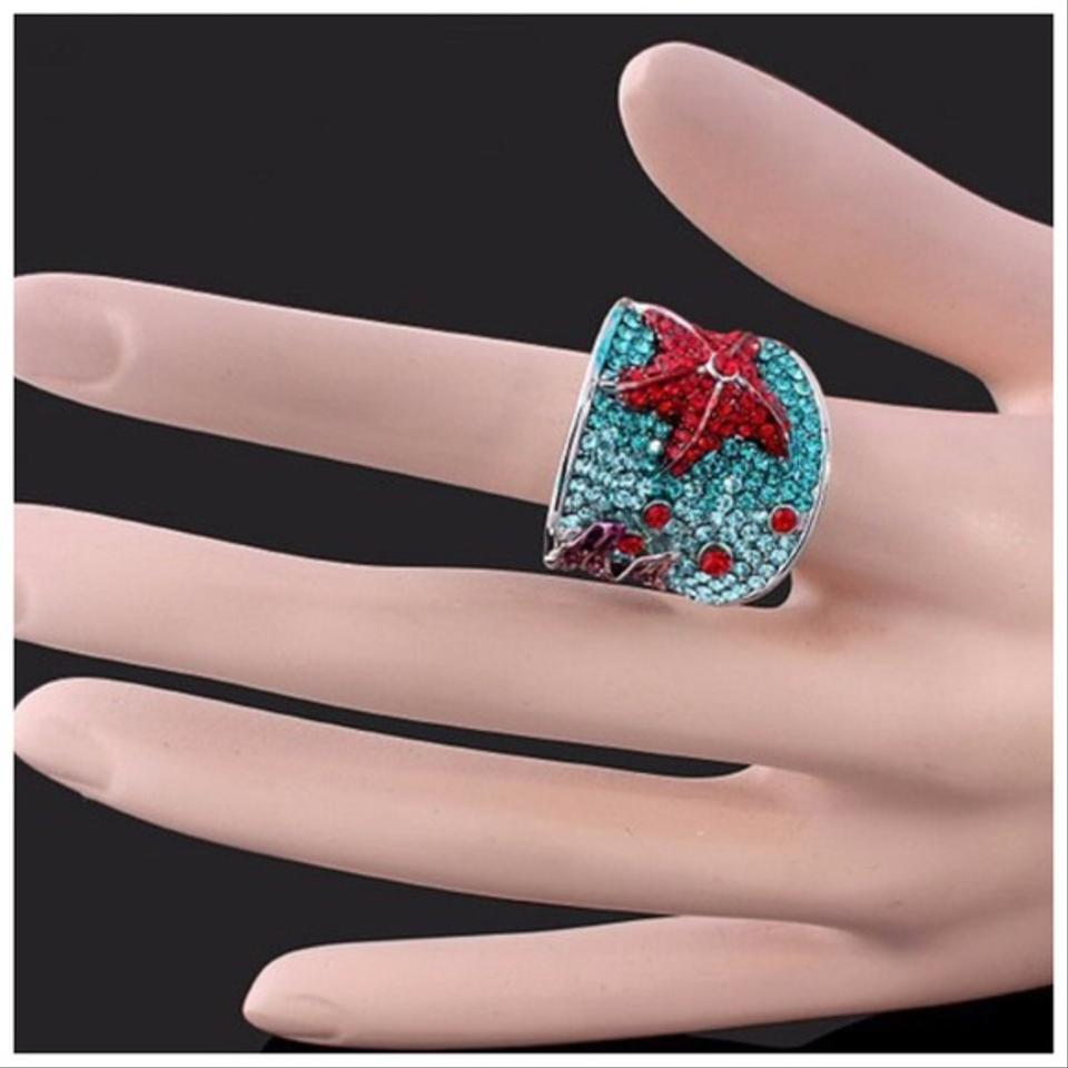 Red & Green Swarovski Crystals Blue Starfish Df101 Ring - Tradesy