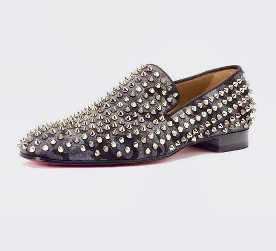 save off bc721 973c8 Christian Louboutin Black/Grey Camo Men's Spiked Dandelion Loafers Flats  Size US 9.5 Regular (M, B) 51% off retail