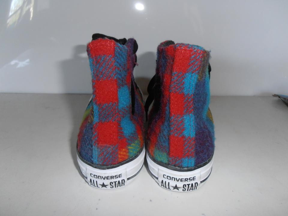 53a0c39f519a Converse Red Yellow Blue Green Plaid Chuck Taylor Woolrich Hitop Red ...