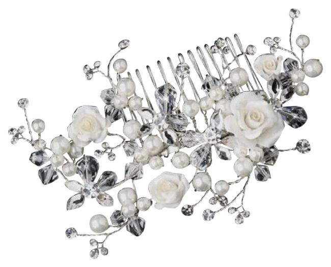 Elegance by Carbonneau Silver/Ivory Rose and Crystal Comb Hair Accessory Elegance by Carbonneau Silver/Ivory Rose and Crystal Comb Hair Accessory Image 1