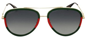 Gucci Aviator Red Green Gold Non-Polarized Authentic Unisex Sunglasses