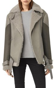 All Saints Shearling Motorcycle Bomber Leather Coat