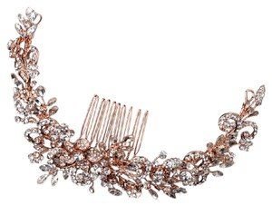 Elegance by Carbonneau Rose Gold Rhinestone Floral Vine Wrap Comb Hair Accessory