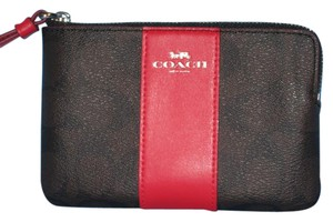 Coach Corner Zip F58035 Wristlet in Brown & Red