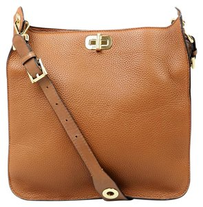 Michael Kors Gold Hardware Leather Pebbled Leather Brown Messenger Bag