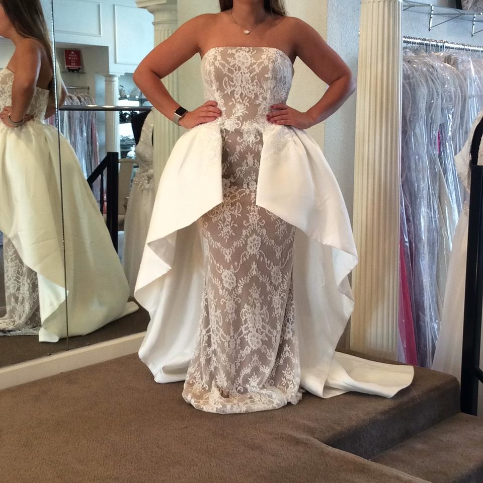 Sherri hill ivory nude satin jersey lace 50842 formal for Wedding dress sherri hill