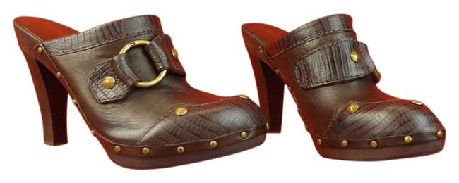 Item - Brown Wooden with Golden Rings Mules/Slides Size US 7 Regular (M, B)