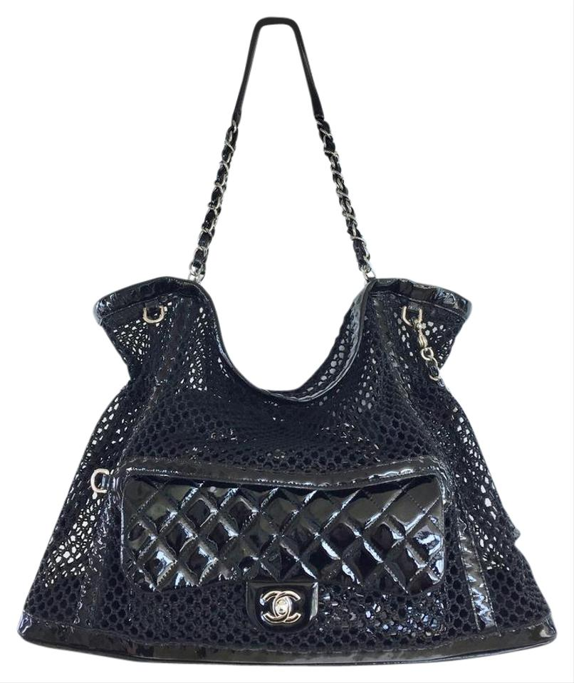 8af38428393d Chanel La Madrague Mesh Chain Black Patent Leather Tote - Tradesy