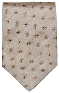 Saint Laurent YSL Yves Saint Laurent Multi Diamond Pattern Creamy Beige 100% Silk Designer Necktie Tie Made In Italy Authentic