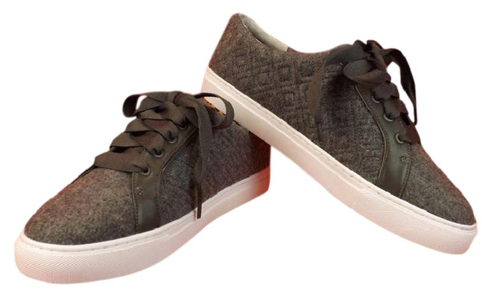 7c72128ff4ad7 Tory Burch Gray Marion T Quilted Felt Logo Lace Up Sneakers Sneakers ...