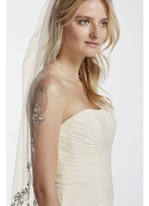 David's Bridal Ivory Medium Dripping Crystals Bridal Veil