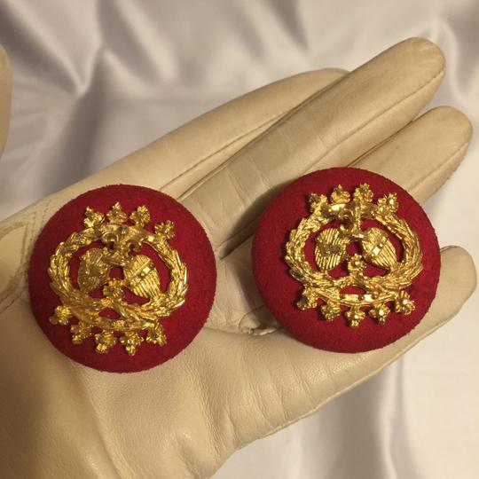 Other Red Suede Royal Crest Clip-On Earrings [ Roxanne Anjou Closet ]