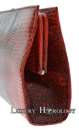 Tiffany & Co. New Authentic Tiffany & Co Lyn Red Print Lizard Long Clutch Bag Image 4