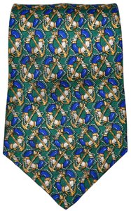 Céline Celine Paris Nautical Anchor Pattern Green 100% Silk Designer Necktie Tie Made In Spain Authentic