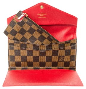 Louis Vuitton LOUIS VUITTON Damier Ebene Josephine Wallet Red