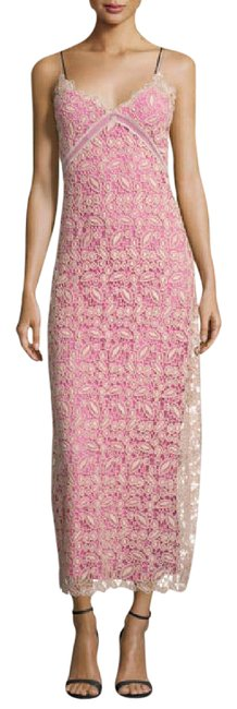 Item - Pink Cream Nude Sleeveless Lace Midi Msrp Long Cocktail Dress Size 10 (M)