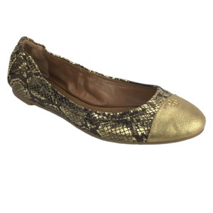 Tory Burch Snake Metallic Leather Gold Flats