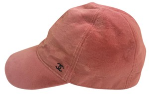 Chanel Chanel pink velvet baseball hat with small black CC
