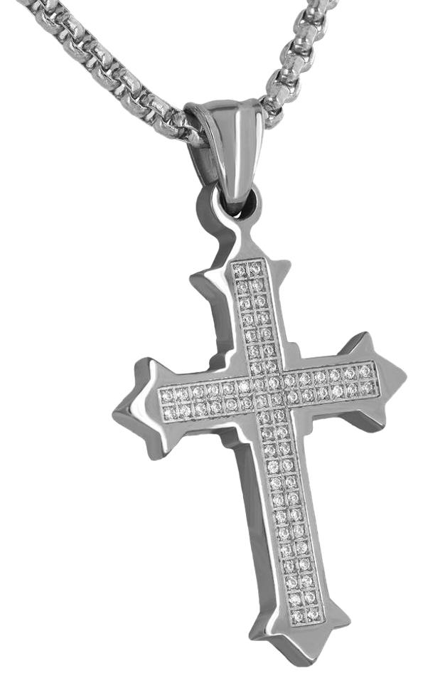 Master of bling white mens stainless steel cross pendant 14k gold master of bling white mens stainless steel cross pendant 14k gold tone necklace aloadofball Image collections