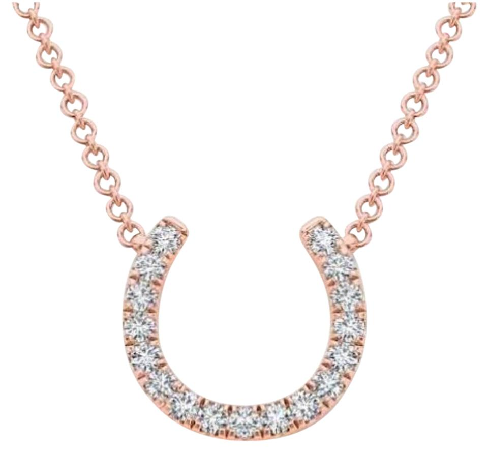 14kt rose gold diamond horseshoe pendant necklace tradesy elizabeth jewelry 14kt rose gold diamond horseshoe pendant aloadofball Image collections