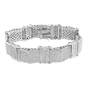 Master Of Bling Mens White Bracelet Lab Diamonds Iced Out Micro Pave 14k White FInish