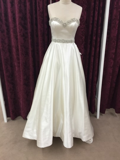 Justin Alexander Alabaster Satin 8680 New Formal Wedding Dress Size 8 (M)