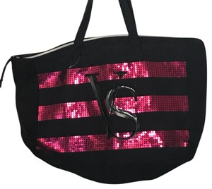 Victoria's Secret Black with striped sequins and logo Beach Bag