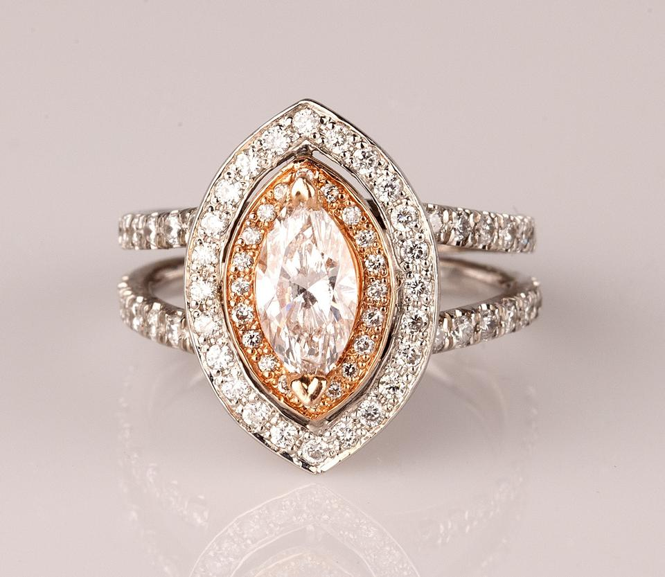 9ec74875937f4 White and Rose Gold New Fine Natural Marquise Diamond Engagement 1.53ct  Ring 58% off retail