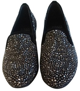 Stuart Weitzman Black With Metal Studs Flats