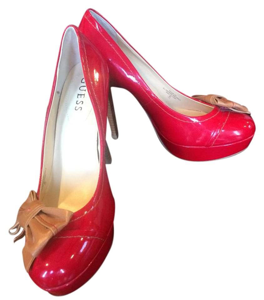 Guess Red and Tan Wgcaylee Wgcaylee Tan Pumps 1b84c8