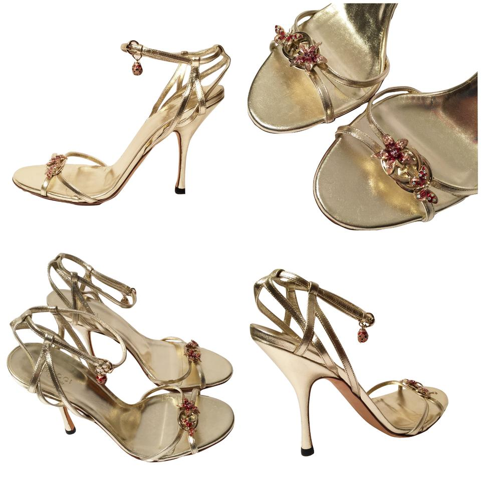 091140508 Gucci New Lt. Edition Collection Runway Gold Jeweled Heels W  Bo ...