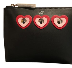 1bfef371f6f7 Fendi New with Tags Hearts Appliques Clutch Pouch Black Leather ...