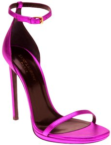 Saint Laurent Jane Metallic Magenta Ankle Wrap 9 39 Ysl Yves Fuchsia, Pink Sandals
