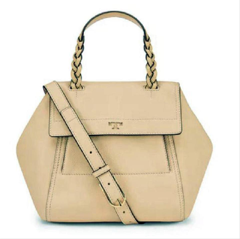 e5c2dbfb4350a Tory Burch Half-Moon Sand Dune Small Beige Leather Satchel - Tradesy