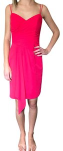 Alfred Angelo Pink Red Chiffon Short Formal Bridesmaid/Mob Dress Size 0 (XS)