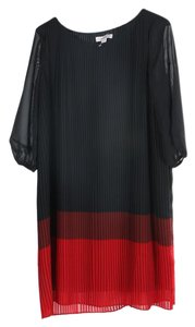 Coldwater Creek short dress Red & Black Pleated Color 3/4 Sleeves Color-blocking on Tradesy