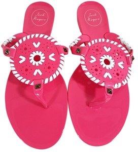 Jack Rogers High-gloss Finish Synthetic Jelly Flip Flop Bright Pink Sandals