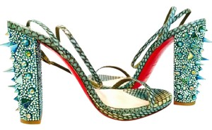Christian Louboutin Pigalle Spikes Studs Boots Green Multi Sandals