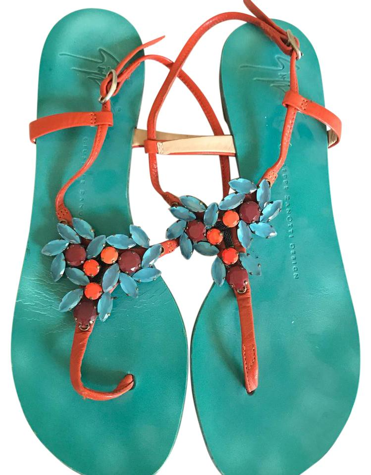51a9e48bf Giuseppe Zanotti Turquoise and Coral Jeweled Sandals Size US 7.5 ...