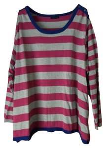 Tommy Hilfiger Logo Cotton Plus-size Rounded Neckline Striped Sweater
