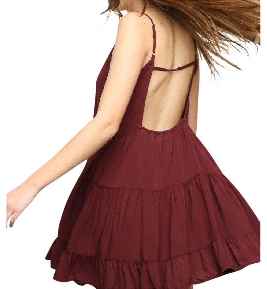 013dc090bfd Brandy Melville Burgundy Jada Short Casual Dress Size OS (one size ...