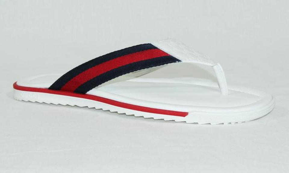 4608146db49 Gucci White 268670 Men s Microguccissima Leather Thong W  Web Detail Sandals  Size US 8.5 Regular (M