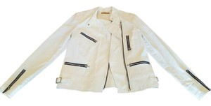 7 For All Mankind Zipper Detail Moto White Jacket